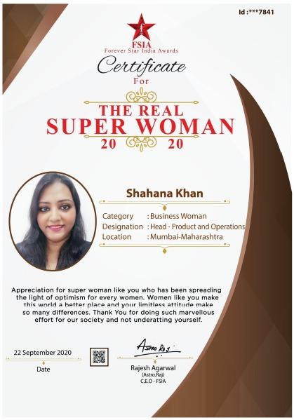 Miss. Shahana Khan - Awarded as - The Real Super Woman 2020 (Business Woman)
